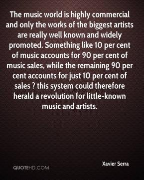 Xavier Serra  - The music world is highly commercial and only the works of the biggest artists are really well known and widely promoted. Something like 10 per cent of music accounts for 90 per cent of music sales, while the remaining 90 per cent accounts for just 10 per cent of sales ? this system could therefore herald a revolution for little-known music and artists.