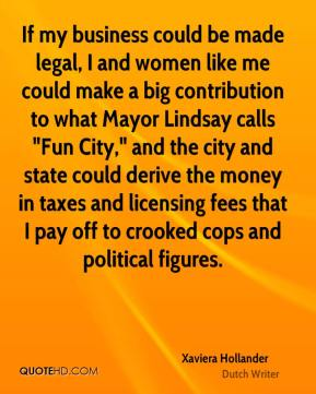 "Xaviera Hollander  - If my business could be made legal, I and women like me could make a big contribution to what Mayor Lindsay calls ""Fun City,"" and the city and state could derive the money in taxes and licensing fees that I pay off to crooked cops and political figures."