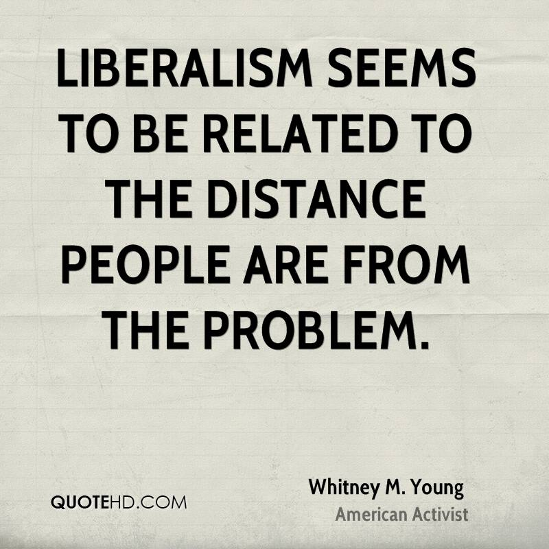 Liberalism seems to be related to the distance people are from the problem.