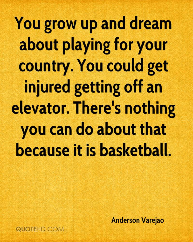 You grow up and dream about playing for your country. You could get injured getting off an elevator. There's nothing you can do about that because it is basketball.
