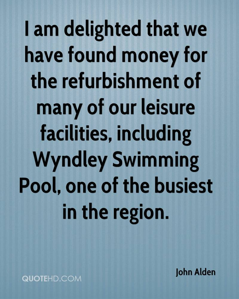 I am delighted that we have found money for the refurbishment of many of our leisure facilities, including Wyndley Swimming Pool, one of the busiest in the region.
