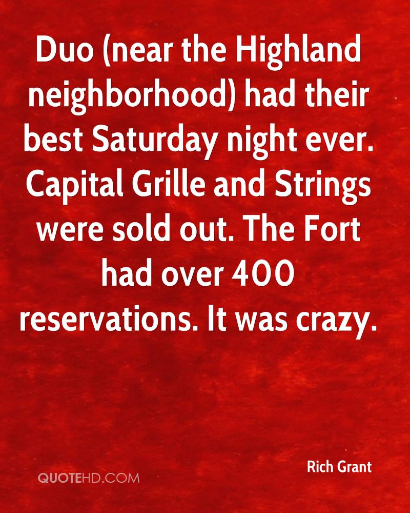 Saturday Night Out Quotes: Rich Grant Quotes