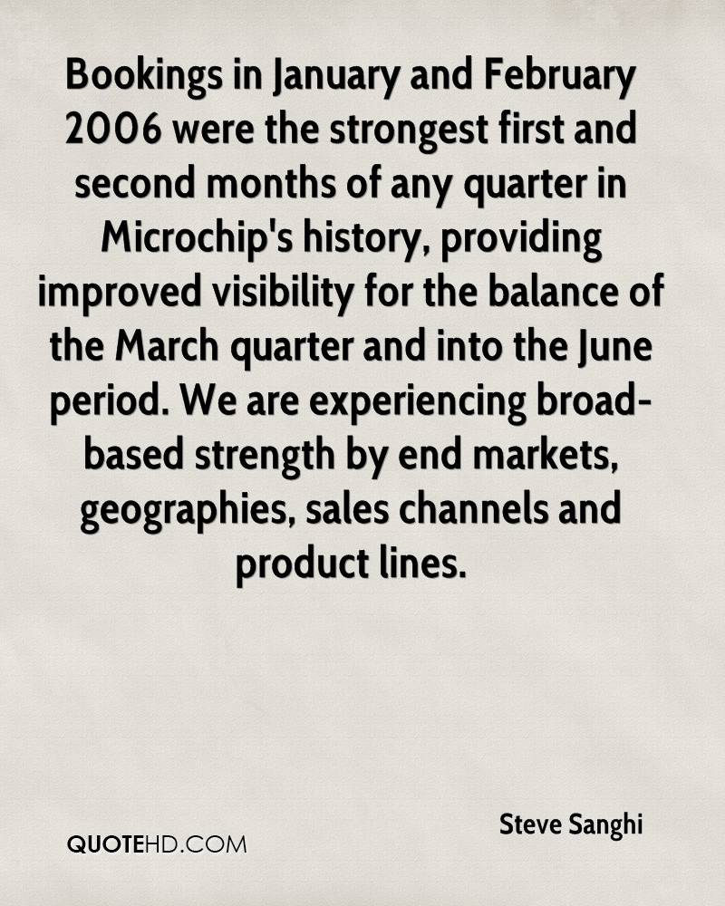 Bookings in January and February 2006 were the strongest first and second months of any quarter in Microchip's history, providing improved visibility for the balance of the March quarter and into the June period. We are experiencing broad-based strength by end markets, geographies, sales channels and product lines.