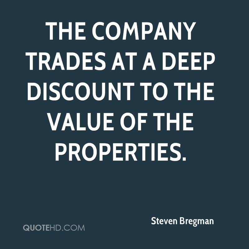 The company trades at a deep discount to the value of the properties.
