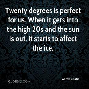 Aaron Costic - Twenty degrees is perfect for us. When it gets into the high 20s and the sun is out, it starts to affect the ice.