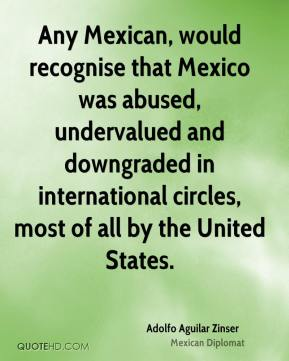 Adolfo Aguilar Zinser - Any Mexican, would recognise that Mexico was abused, undervalued and downgraded in international circles, most of all by the United States.