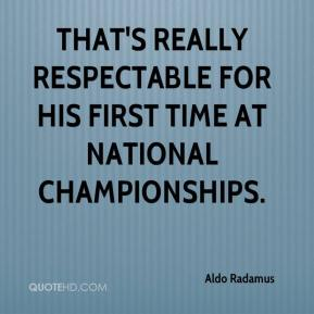 Aldo Radamus - That's really respectable for his first time at national championships.