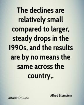 Alfred Blumstein - The declines are relatively small compared to larger, steady drops in the 1990s, and the results are by no means the same across the country.