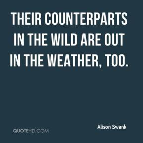 Alison Swank - Their counterparts in the wild are out in the weather, too.