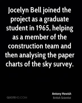 Antony Hewish - Jocelyn Bell joined the project as a graduate student in 1965, helping as a member of the construction team and then analysing the paper charts of the sky survey.