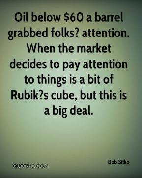 Bob Sitko - Oil below $60 a barrel grabbed folks? attention. When the market decides to pay attention to things is a bit of Rubik?s cube, but this is a big deal.