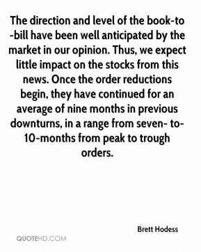 Brett Hodess - The direction and level of the book-to-bill have been well anticipated by the market in our opinion. Thus, we expect little impact on the stocks from this news. Once the order reductions begin, they have continued for an average of nine months in previous downturns, in a range from seven- to- 10-months from peak to trough orders.