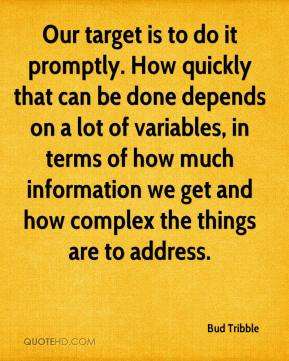 Bud Tribble - Our target is to do it promptly. How quickly that can be done depends on a lot of variables, in terms of how much information we get and how complex the things are to address.