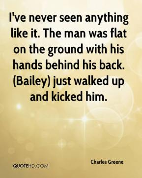 Charles Greene - I've never seen anything like it. The man was flat on the ground with his hands behind his back. (Bailey) just walked up and kicked him.