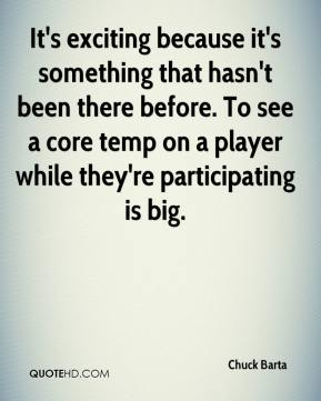 Chuck Barta - It's exciting because it's something that hasn't been there before. To see a core temp on a player while they're participating is big.