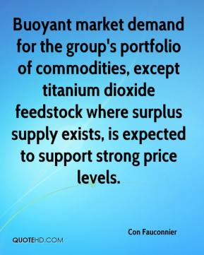 Buoyant market demand for the group's portfolio of commodities, except titanium dioxide feedstock where surplus supply exists, is expected to support strong price levels.