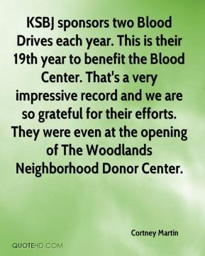 KSBJ sponsors two Blood Drives each year. This is their 19th year to benefit the Blood Center. That's a very impressive record and we are so grateful for their efforts. They were even at the opening of The Woodlands Neighborhood Donor Center.