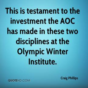 Craig Phillips - This is testament to the investment the AOC has made in these two disciplines at the Olympic Winter Institute.