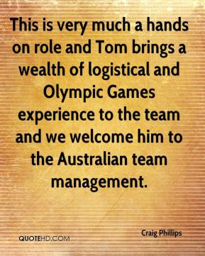 This is very much a hands on role and Tom brings a wealth of logistical and Olympic Games experience to the team and we welcome him to the Australian team management.
