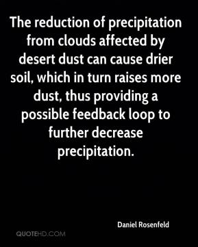 Daniel Rosenfeld - The reduction of precipitation from clouds affected by desert dust can cause drier soil, which in turn raises more dust, thus providing a possible feedback loop to further decrease precipitation.