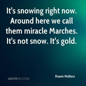 Duane Wallace - It's snowing right now. Around here we call them miracle Marches. It's not snow. It's gold.