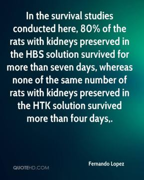 In the survival studies conducted here, 80% of the rats with kidneys preserved in the HBS solution survived for more than seven days, whereas none of the same number of rats with kidneys preserved in the HTK solution survived more than four days.