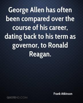 George Allen has often been compared over the course of his career, dating back to his term as governor, to Ronald Reagan.