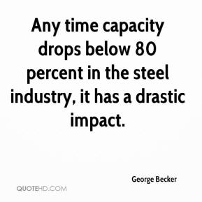 Any time capacity drops below 80 percent in the steel industry, it has a drastic impact.