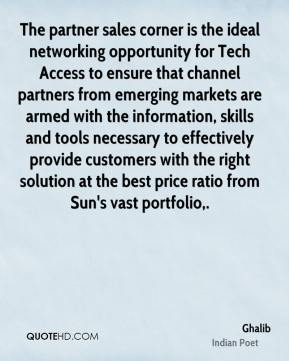 The partner sales corner is the ideal networking opportunity for Tech Access to ensure that channel partners from emerging markets are armed with the information, skills and tools necessary to effectively provide customers with the right solution at the best price ratio from Sun's vast portfolio.