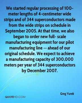 Greg Yurek - We started regular processing of 100-meter lengths of 4-centimeter wide strips and of 344 superconductors made from the wide strips on schedule in September 2005. At that time, we also began to order new full- scale manufacturing equipment for our pilot manufacturing line -- ahead of our original schedule. We expect to achieve a manufacturing capacity of 300,000 meters per year of 344 superconductors by December 2007.