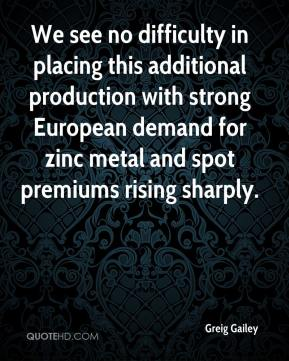 Greig Gailey - We see no difficulty in placing this additional production with strong European demand for zinc metal and spot premiums rising sharply.