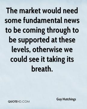 Guy Hutchings - The market would need some fundamental news to be coming through to be supported at these levels, otherwise we could see it taking its breath.