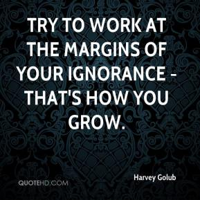 Harvey Golub - Try to work at the margins of your ignorance - that's how you grow.