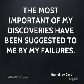 Humphrey Davy - The most important of my discoveries have been suggested to me by my failures.
