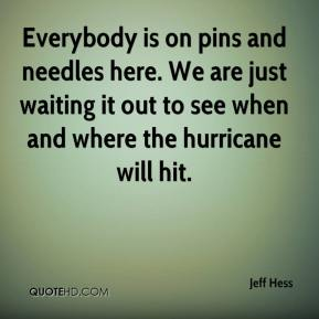 Everybody is on pins and needles here. We are just waiting it out to see when and where the hurricane will hit.