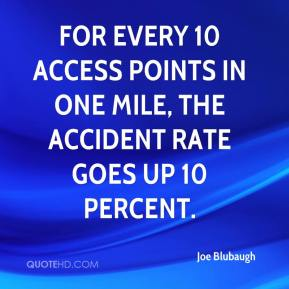 Joe Blubaugh  - For every 10 access points in one mile, the accident rate goes up 10 percent.