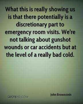 What this is really showing us is that there potentially is a discretionary part to emergency room visits. We're not talking about gunshot wounds or car accidents but at the level of a really bad cold.