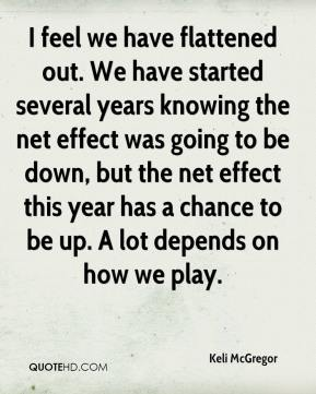 Keli McGregor  - I feel we have flattened out. We have started several years knowing the net effect was going to be down, but the net effect this year has a chance to be up. A lot depends on how we play.