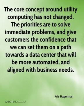 Kris Hagerman  - The core concept around utility computing has not changed. The priorities are to solve immediate problems, and give customers the confidence that we can set them on a path towards a data center that will be more automated, and aligned with business needs.