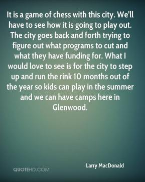 It is a game of chess with this city. We'll have to see how it is going to play out. The city goes back and forth trying to figure out what programs to cut and what they have funding for. What I would love to see is for the city to step up and run the rink 10 months out of the year so kids can play in the summer and we can have camps here in Glenwood.