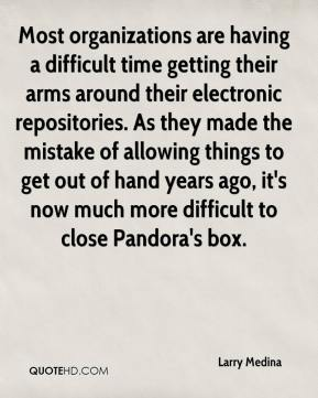 Larry Medina  - Most organizations are having a difficult time getting their arms around their electronic repositories. As they made the mistake of allowing things to get out of hand years ago, it's now much more difficult to close Pandora's box.