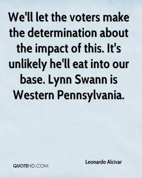 Leonardo Alcivar  - We'll let the voters make the determination about the impact of this. It's unlikely he'll eat into our base. Lynn Swann is Western Pennsylvania.