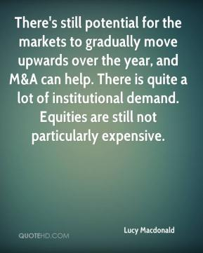 Lucy Macdonald  - There's still potential for the markets to gradually move upwards over the year, and M&A can help. There is quite a lot of institutional demand. Equities are still not particularly expensive.