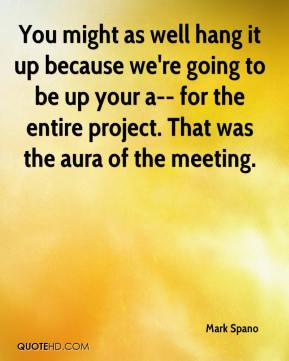 Mark Spano  - You might as well hang it up because we're going to be up your a-- for the entire project. That was the aura of the meeting.