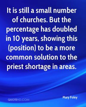 Mary Foley  - It is still a small number of churches. But the percentage has doubled in 10 years, showing this (position) to be a more common solution to the priest shortage in areas.