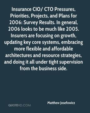 Matthew Josefowicz  - Insurance CIO/ CTO Pressures, Priorities, Projects, and Plans for 2006: Survey Results. In general, 2006 looks to be much like 2005. Insurers are focusing on growth, updating key core systems, embracing more flexible and affordable architectures and resource strategies, and doing it all under tight supervision from the business side.