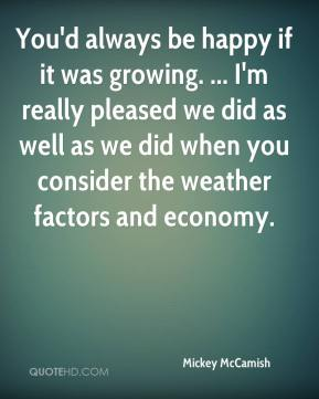 You'd always be happy if it was growing. ... I'm really pleased we did as well as we did when you consider the weather factors and economy.