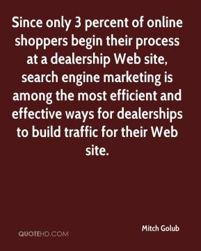 Since only 3 percent of online shoppers begin their process at a dealership Web site, search engine marketing is among the most efficient and effective ways for dealerships to build traffic for their Web site.