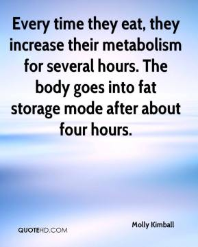 Molly Kimball  - Every time they eat, they increase their metabolism for several hours. The body goes into fat storage mode after about four hours.
