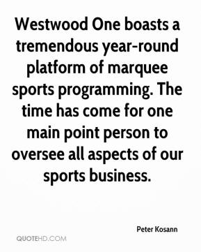 Westwood One boasts a tremendous year-round platform of marquee sports programming. The time has come for one main point person to oversee all aspects of our sports business.